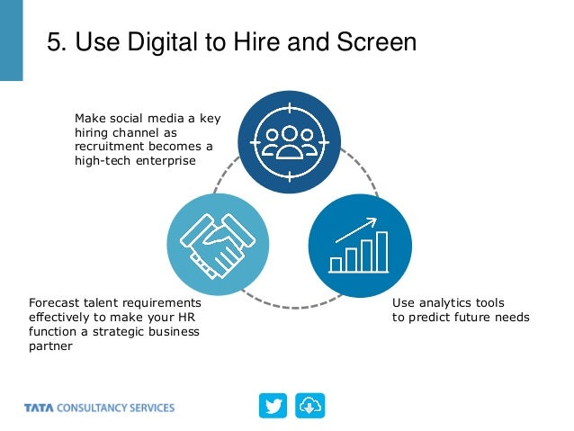 Make social media a key hiring channel as recruitment becomes a high-tech enterprise Use analytics tools to predict future...