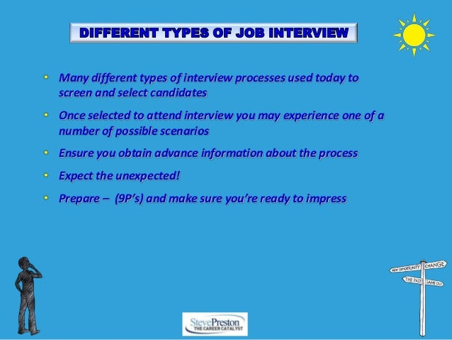different types of interviews used in Types of interview the interview is an essential part of the recruitment process for all organisations and is a two-way exchange between the prospective.