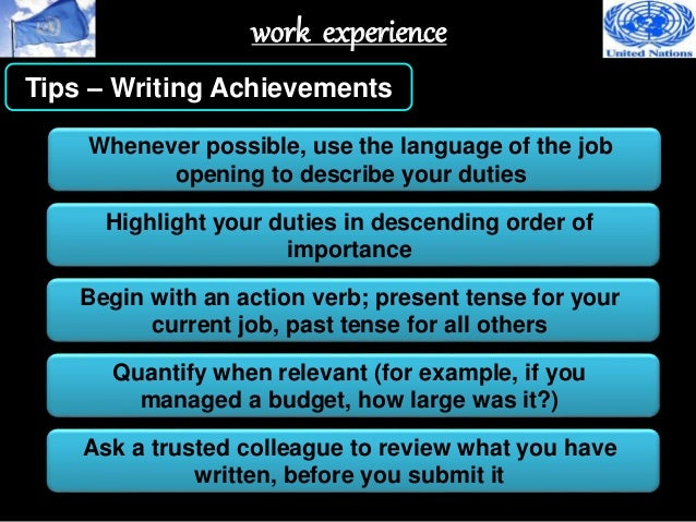 34 work experience tips writing achievements