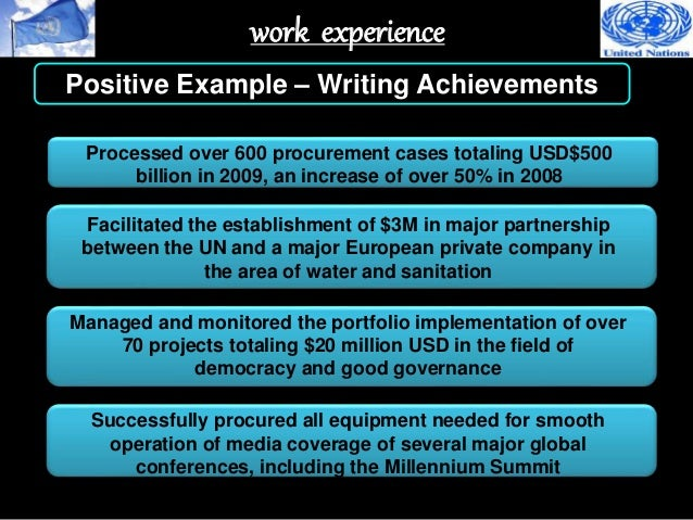 achievements on job application example