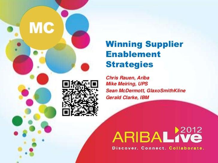 MC     Winning Supplier     Enablement     Strategies     Chris Rauen, Ariba     Mike Meiring, UPS     Sean McDermott, Gla...