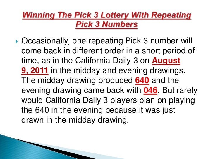 winning the pick 3 lottery with repeating pick 3 numbers
