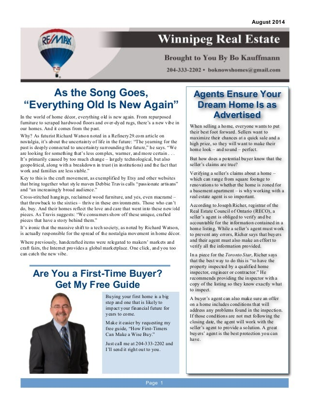 Winnipeg Real Estate Newsletter August