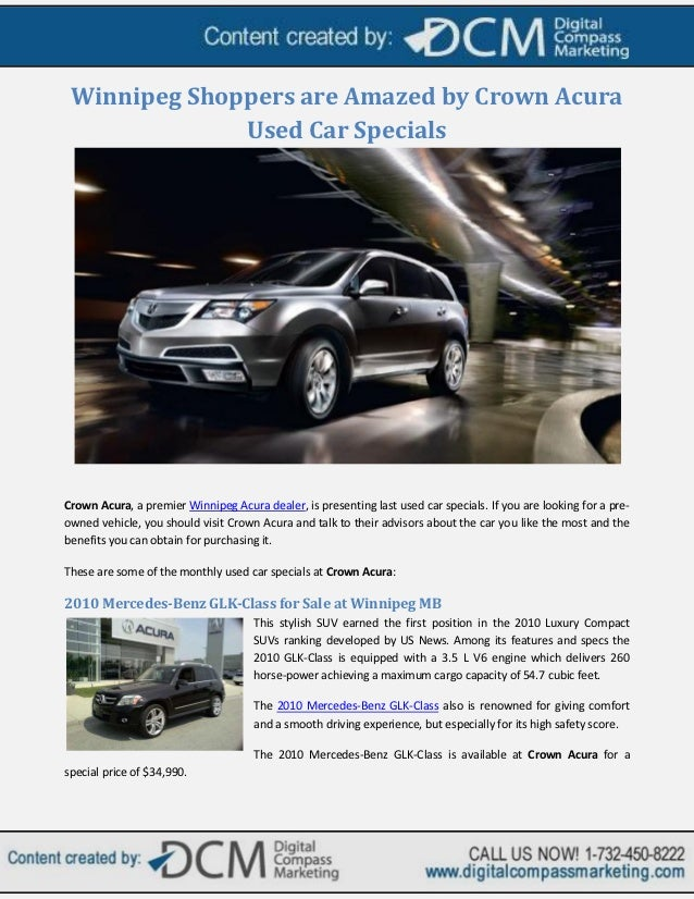 winnipeg shoppers are amazed by crown acura used car specials