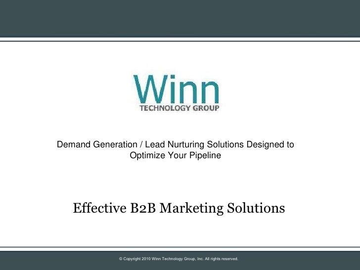 Effective B2B Marketing Solutions Demand Generation / Lead Nurturing Solutions Designed to Optimize Your Pipeline