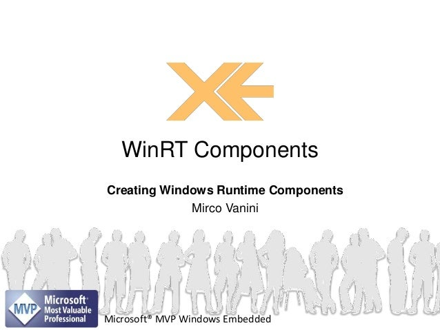 Creating Windows Runtime ComponentsMirco VaniniWinRT ComponentsMicrosoft® MVP Windows Embedded
