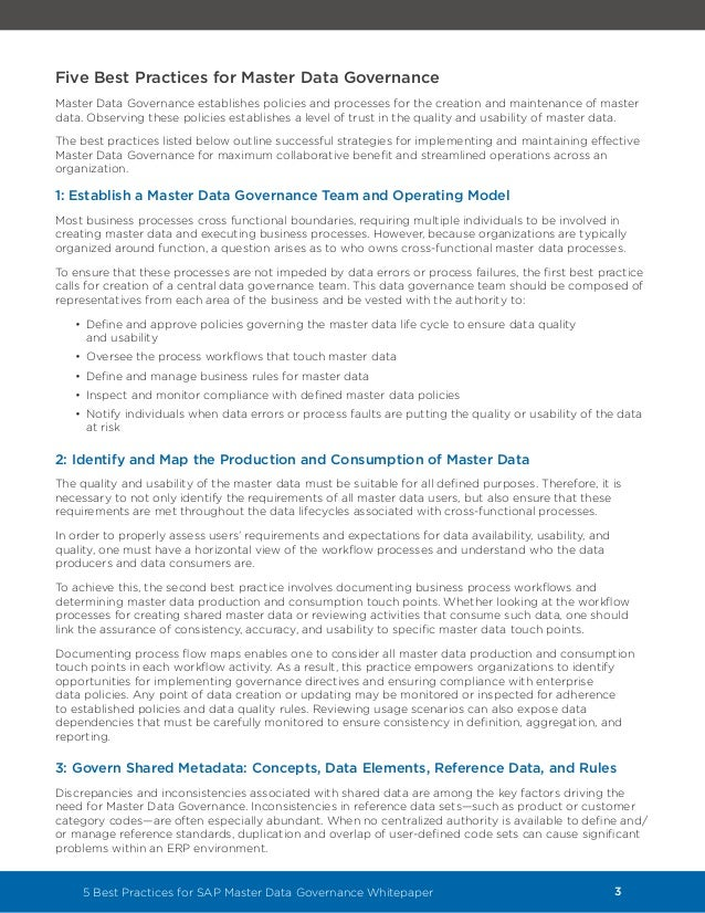 5 Best Practices for SAP Master Data Governance