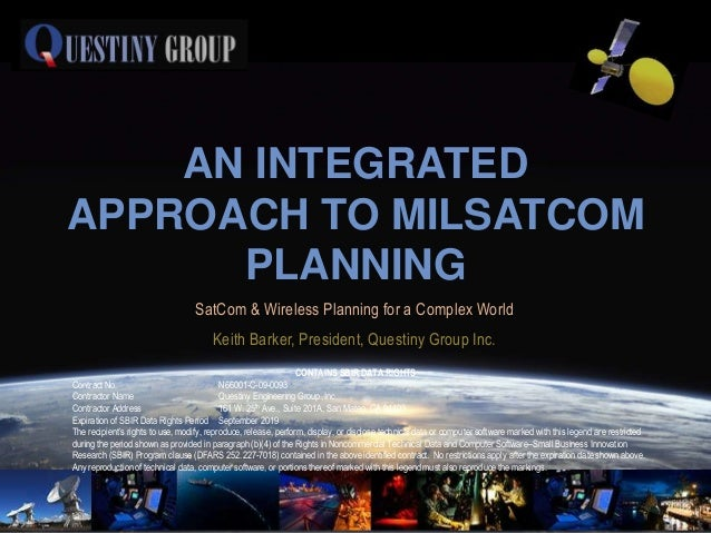 AN INTEGRATEDAPPROACH TO MILSATCOM      PLANNING                                  SatCom & Wireless Planning for a Complex...