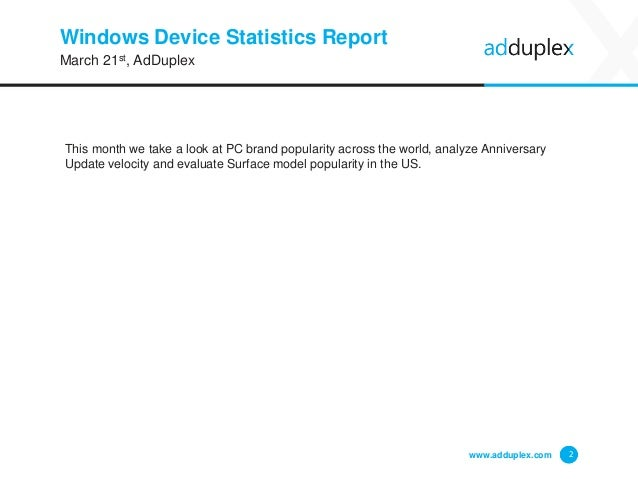 Windows Device Statistics Report This month we take a look at PC brand popularity across the world, analyze Anniversary Up...