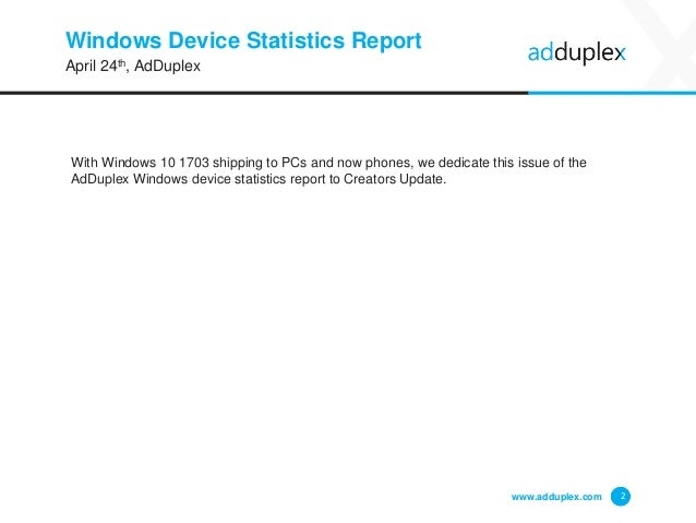 Windows Device Statistics Report With Windows 10 1703 shipping to PCs and now phones, we dedicate this issue of the AdDupl...
