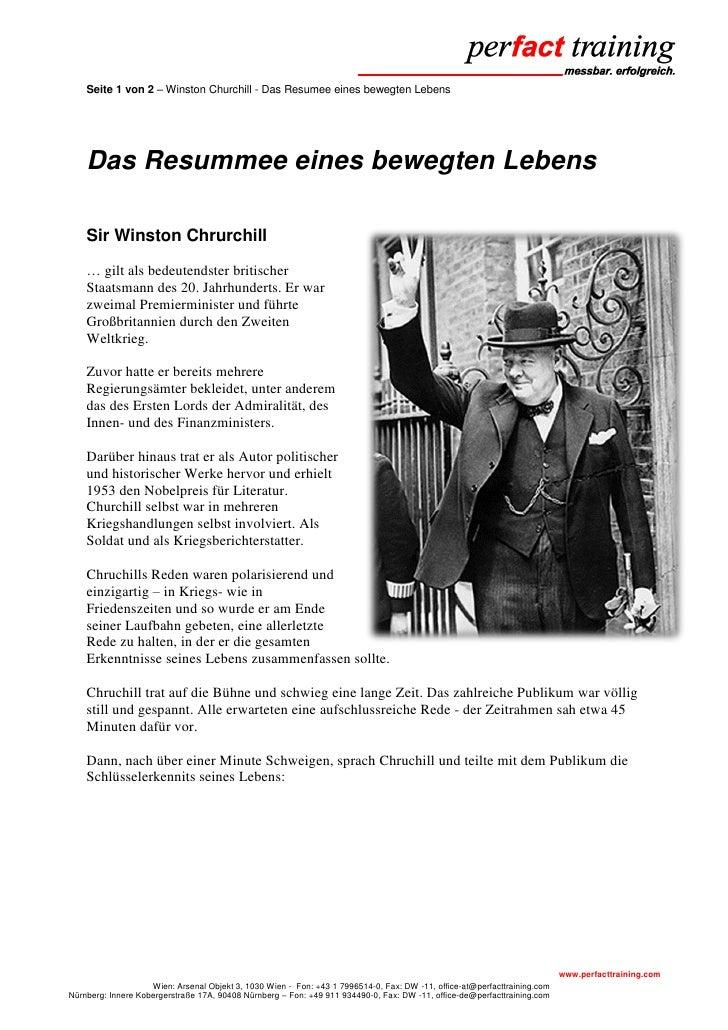 Seite 1 von 2 – Winston Churchill - Das Resumee eines bewegten Lebens    Das Resummee eines bewegten Lebens    Sir Winston...