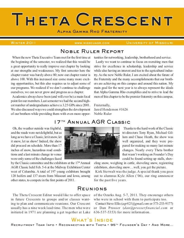 Theta Crescent                      Alpha Gamma Rho FraternityWinter 2011                                      www.mizzoua...