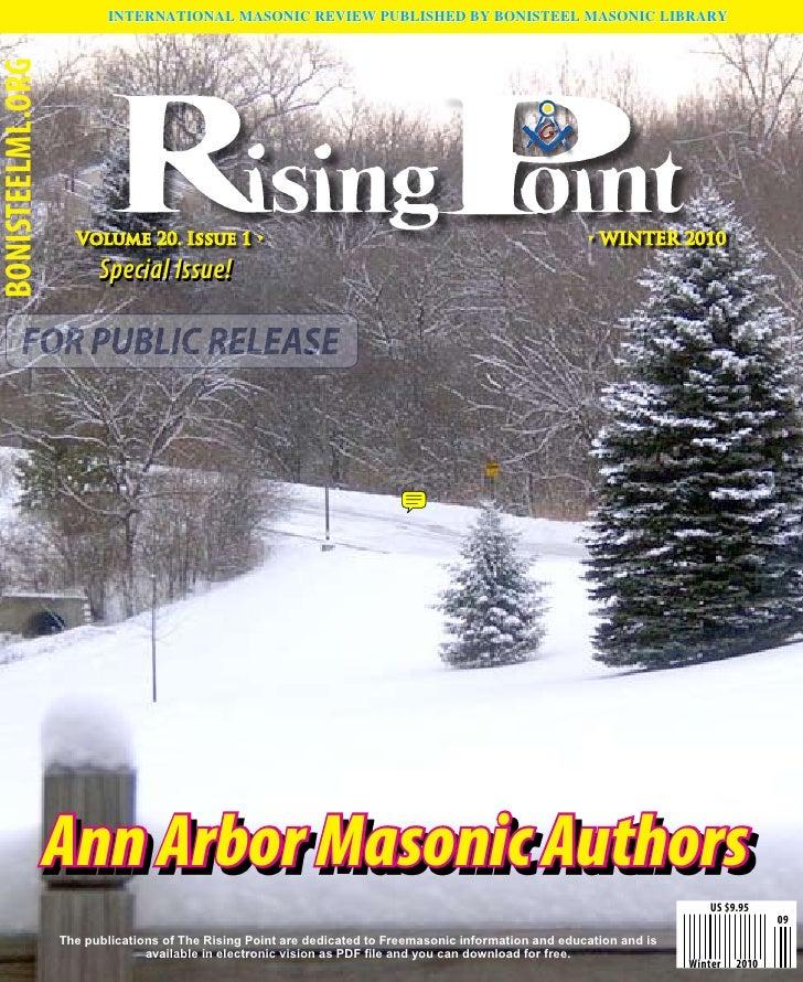 INTERNATIONAL MASONIC REVIEW PUBLISHED BY BONISTEEL MASONIC LIBRARY BONISTEELML.ORG                         Volume 20. Iss...