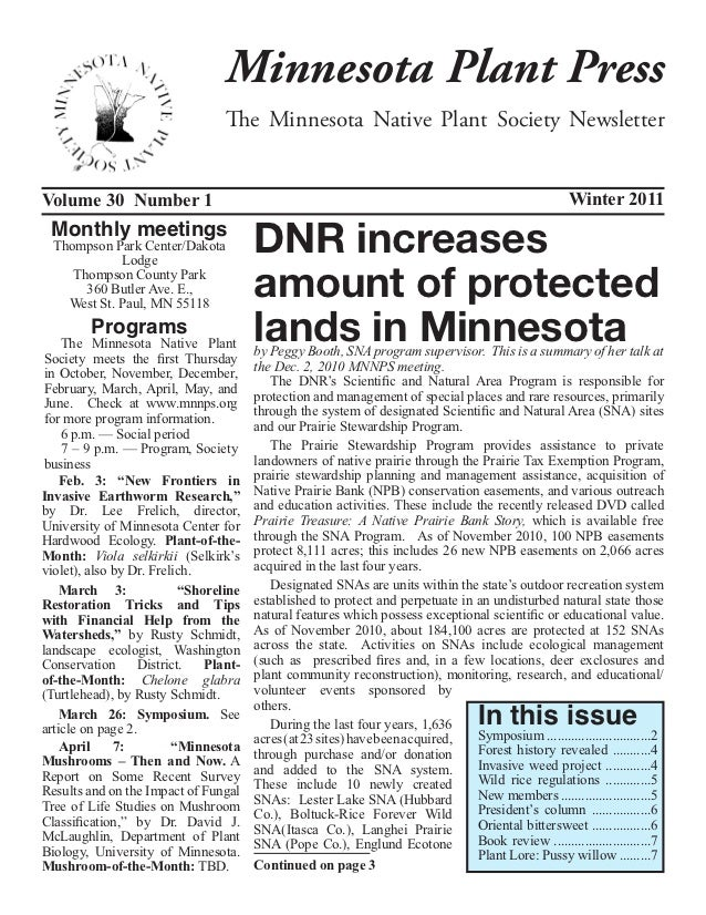 Minnesota Plant Press                                  The Minnesota Native Plant Society NewsletterVolume 30 Number 1    ...