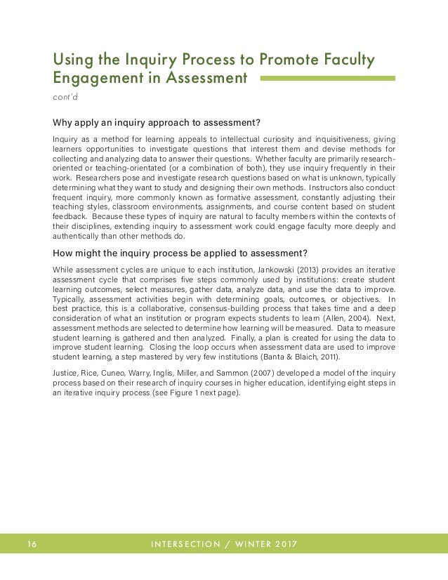 20 INTERSECTION / WINTER 2017 Conclusion The inquiry process, like the assessment cycle, appears to be a neat, clean proc...
