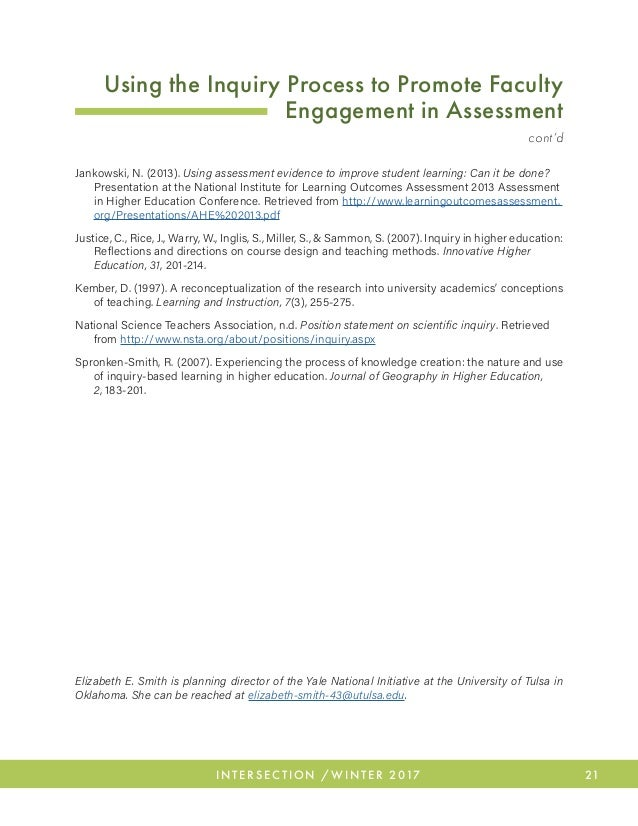26 INTERSECTION / WINTER 2017 Talking Ourselves Into It: Faculty Perspectives of Student Learning Outcome (SLO) Assessmen...