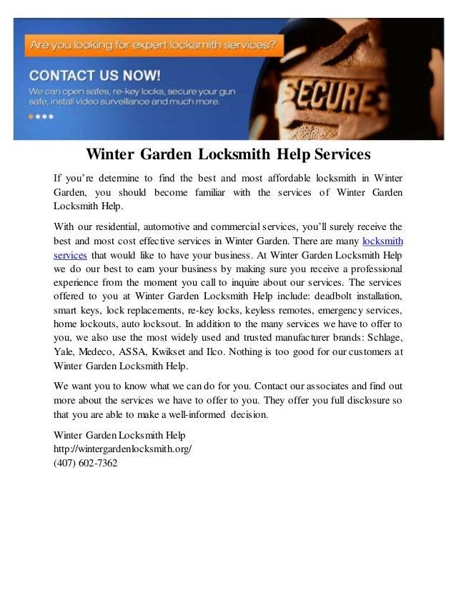 Winter garden locksmith help