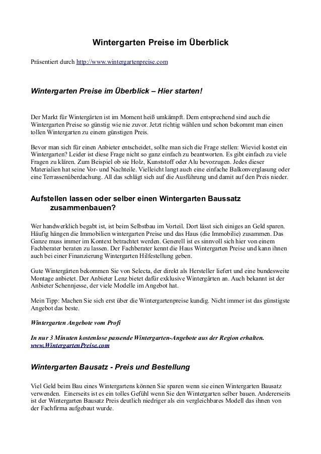 Schennjesse Wintergarten Preise wintergarten preise
