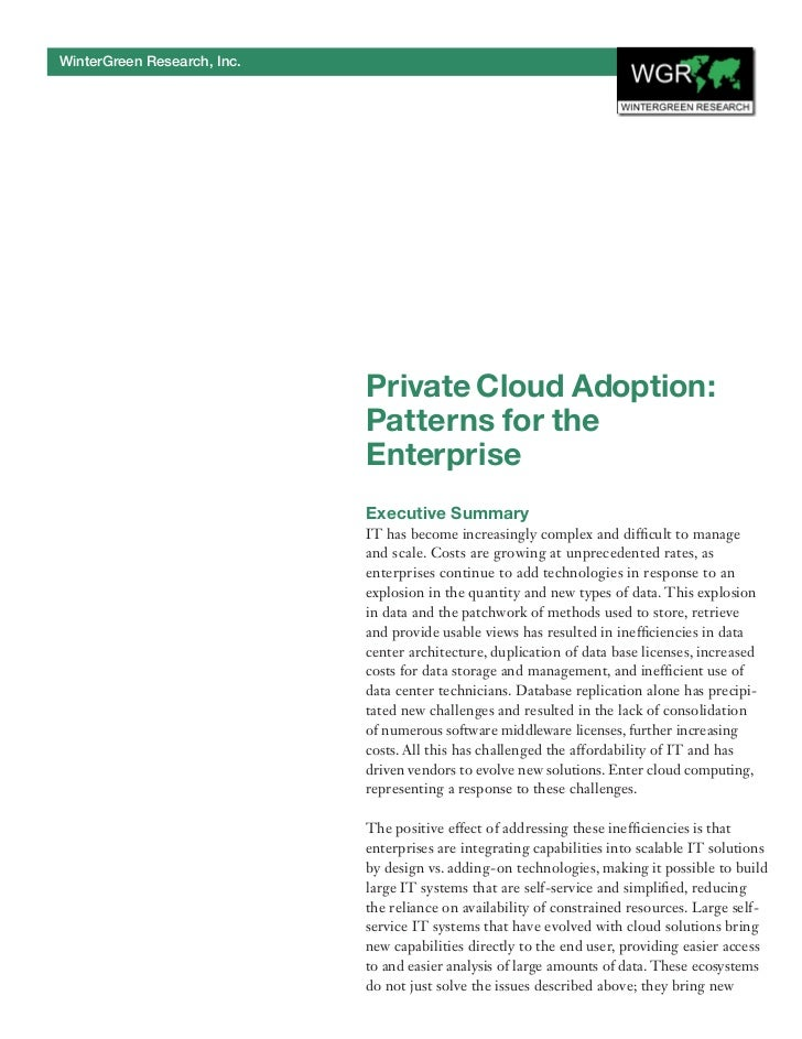 WinterGreen Research, Inc.                             Private Cloud Adoption:                             Patterns for th...