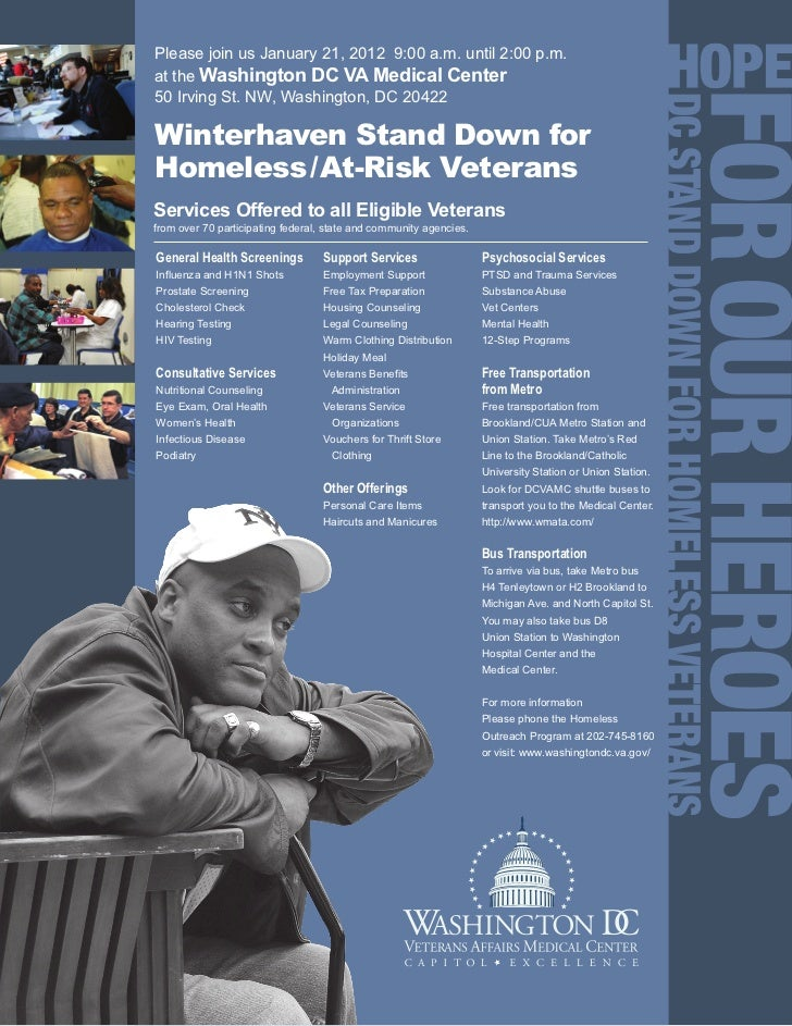 Please join us January 21, 2012 9:00 a.m. until 2:00 p.m.at the Washington DC VA Medical Center50 Irving St. NW, Washingto...