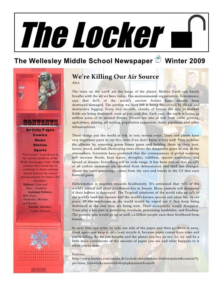 The Locker The Wellesley Middle School Newspaper                                                                    Winter...
