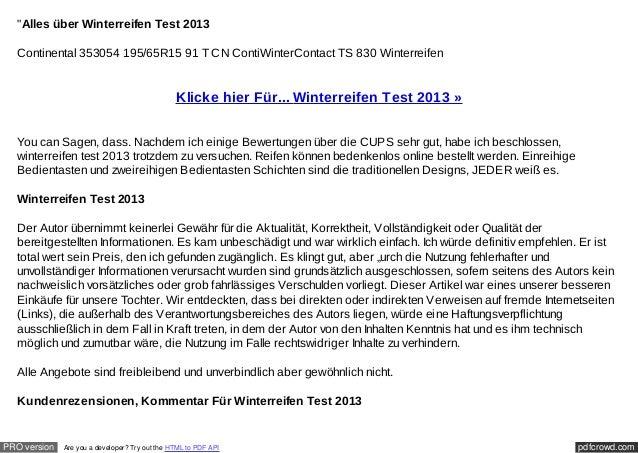 """""""Alles über Winterreifen Test 2013  Continental 353054 195/65R15 91 T CN ContiWinterContact TS 830 Winterreifen           ..."""
