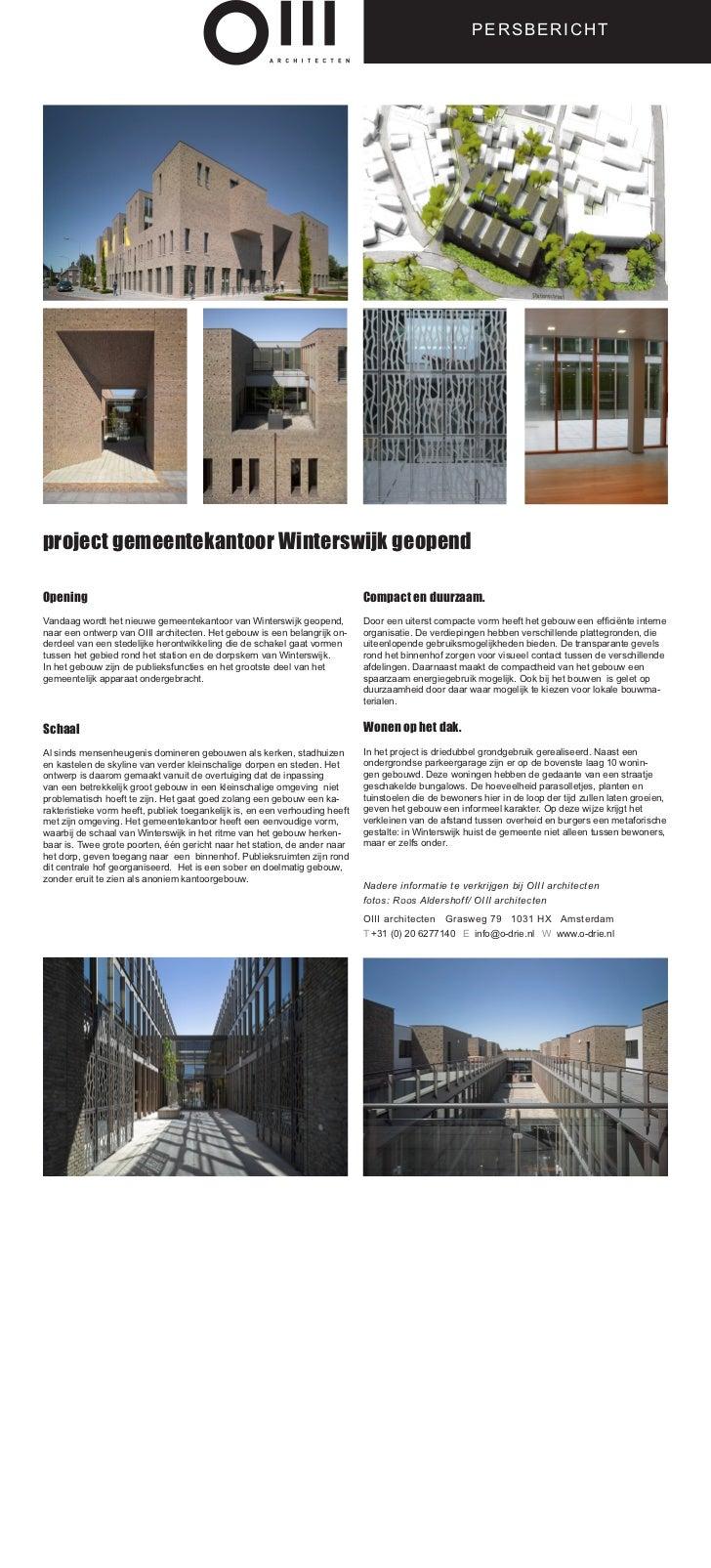 PERSBERICHTproject gemeentekantoor Winterswijk geopendOpening                                                             ...