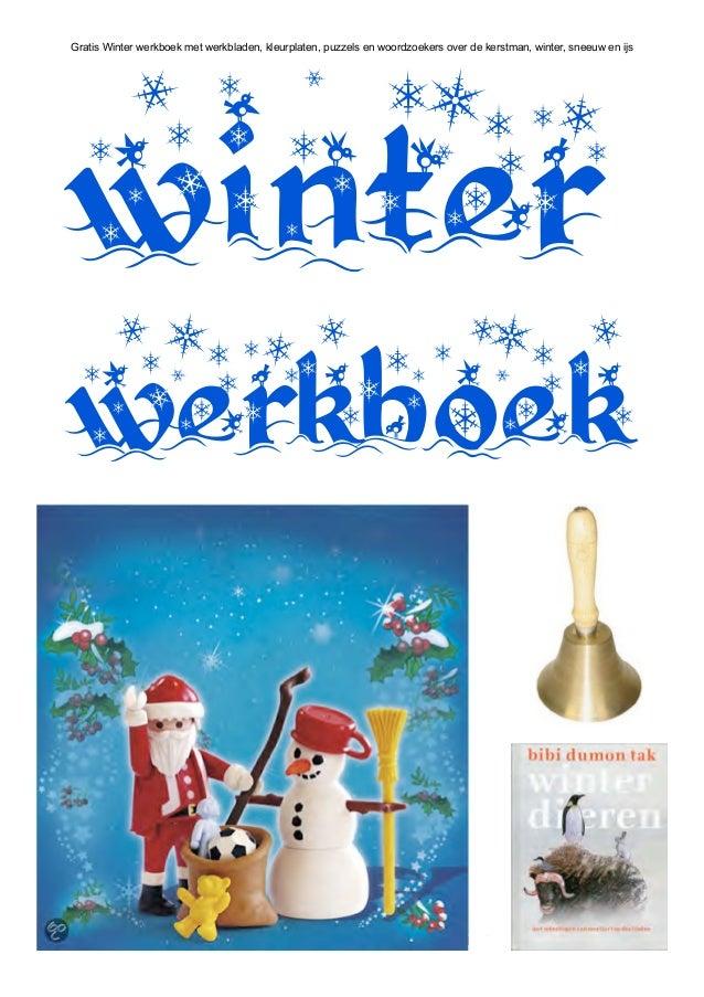 Gratis Winter werkboek met werkbladen, kleurplaten, puzzels en woordzoekers over de kerstman, winter, sneeuw en ijswinterw...