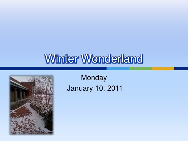 Winter Wonderland Monday  January 10, 2011