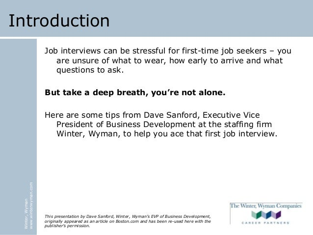 Winter wyman interview tips for first time job seekers