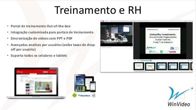 Treinamento e RH • Portal de treinamento Out-of-the-box • Integração customizada para portais de treinamento • Sincronizaç...