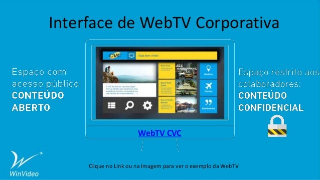 Interface de WebTV Corporativa WebTV CVC Clique no Link ou na Imagem para ver o exemplo da WebTV
