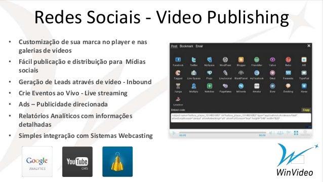 • Customização de sua marca no player e nas galerias de vídeos • Fácil publicação e distribuição para Mídias sociais • Ger...