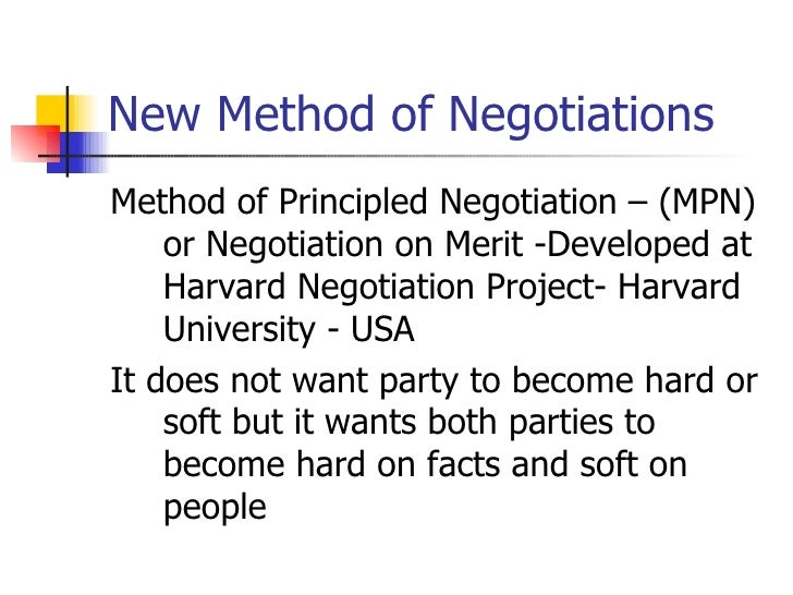 an analysis of the method of principled negotiation This method may be used for commercial items including those of a type or requiring minor modifications  negotiation is based on cost analysis, contracting.
