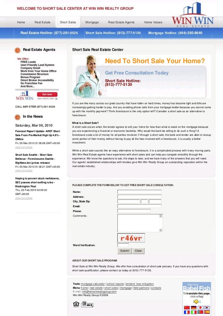 WELCOME TO SHORT SALE CENTER AT WIN WIN REALTY GROUP Home               Real Estate       Short Sales        Mortgage     ...