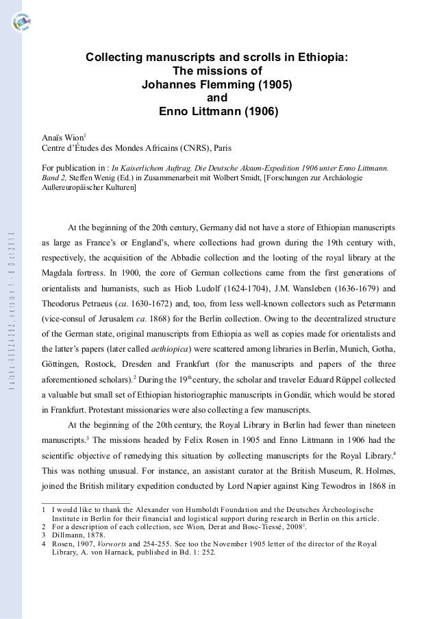 Collecting manuscripts and scrolls in Ethiopia: The missions of Johannes Flemming (1905) and Enno Littmann (1906) Anaïs Wi...