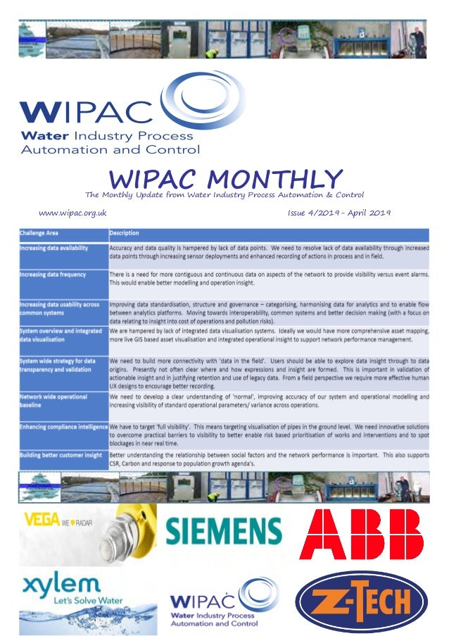 WIPAC MONTHLYThe Monthly Update from Water Industry Process Automation & Control www.wipac.org.ukIssue 4/2019- ...