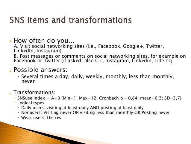  How often do you… A. Visit social networking sites (i.e., Facebook, Google+, Twitter, LinkedIn, Instagram) B. Post messa...