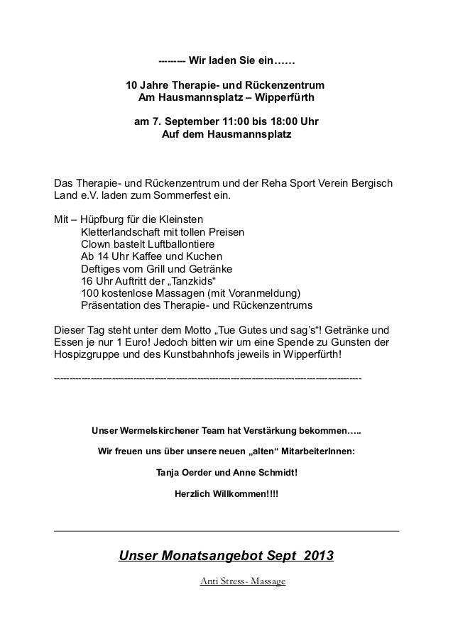 --------- Wir laden Sie ein…… 10 Jahre Therapie- und Rückenzentrum Am Hausmannsplatz – Wipperfürth am 7. September 11:00 b...