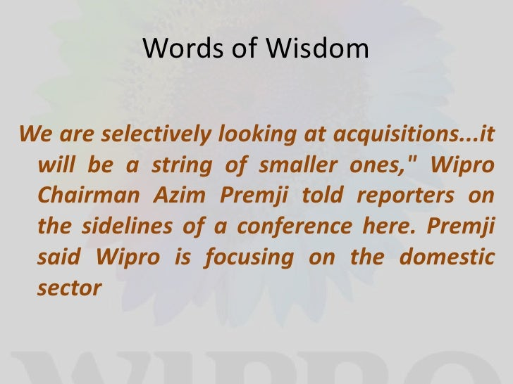 vision and mission analysis of wipro Wipro is one of the largest and successful it company was established in december 1945 by amalnermicrosoft ,ibm and cisco are the major clients of wipro.
