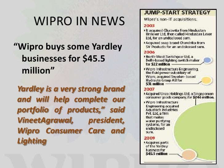 an analysis of wipro company The evolution of wipro, ltd wipro was a soap manufacturing company while to an engineering professional, wipro was a software engineering firm [28.