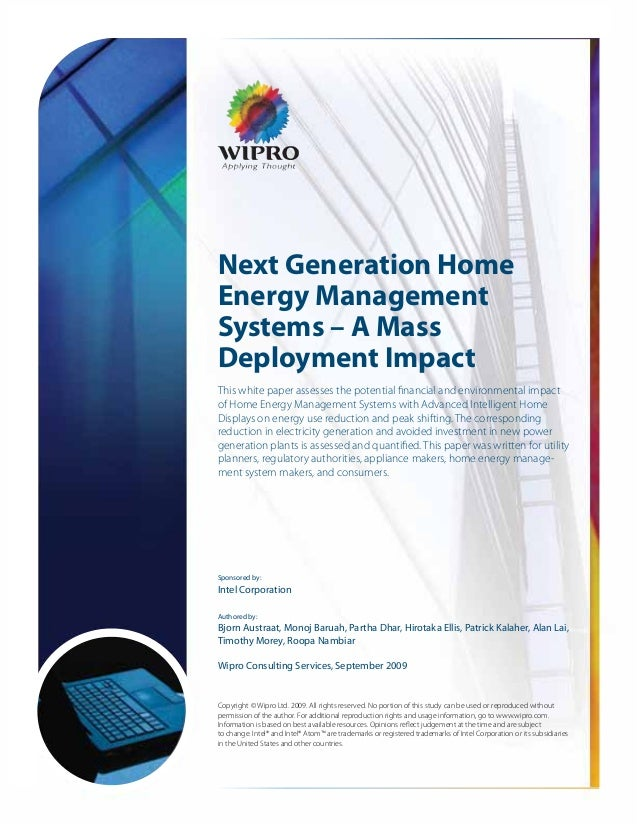 Next Generation HomeEnergy ManagementSystems – A MassDeployment ImpactThis white paper assesses the potential financial an...