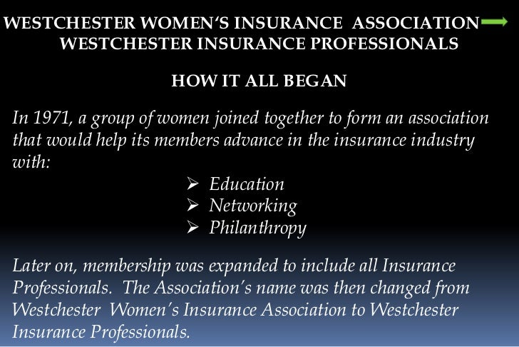 WESTCHESTER WOMEN'S INSURANCE  ASSOCIATION<br />WESTCHESTER INSURANCE PROFESSIONALS<br />HOW IT ALL BEGAN<br />In 1971, a ...