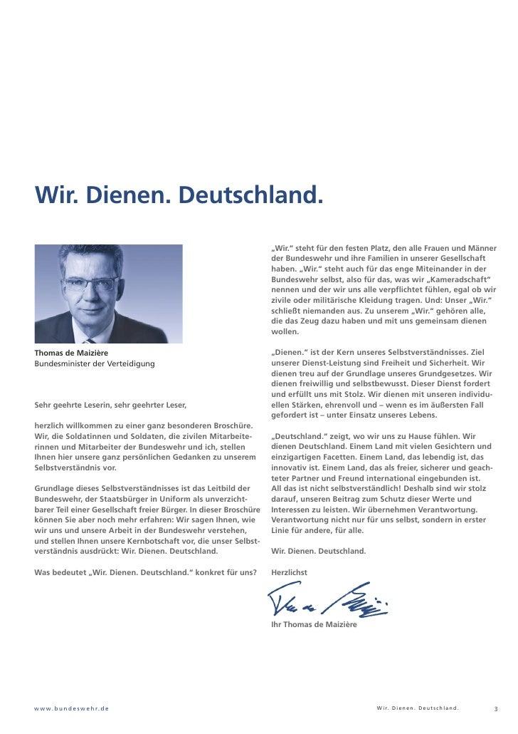 """Wir. Dienen. Deutschland.                                                                   """"Wir."""" steht für den festen Pl..."""