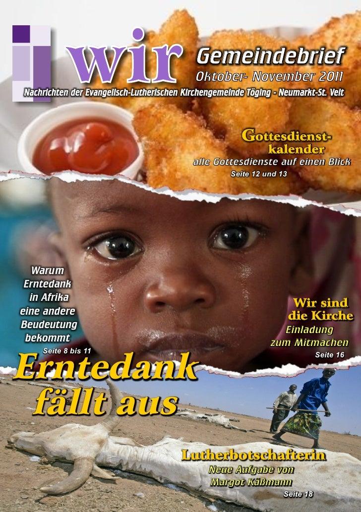 Gemeindebrief WIR - Ausgabe Herbst 2011