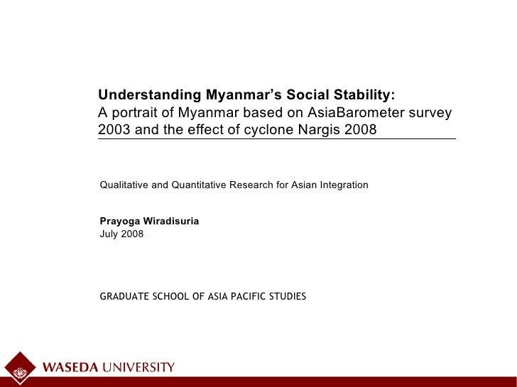 July 2008 Qualitative and Quantitative Research for Asian Integration Prayoga Wiradisuria Understanding Myanmar's Social S...