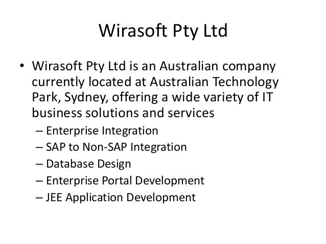 Wirasoft Pty Ltd • Wirasoft Pty Ltd is an Australian company currently located at Australian Technology Park, Sydney, offe...