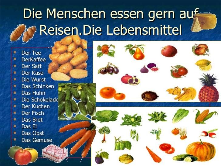 Die Menschen essen gern auf Reisen.Die Lebensmittel <ul><li>Der Tee </li></ul><ul><li>DerKaffee </li></ul><ul><li>Der Saft...