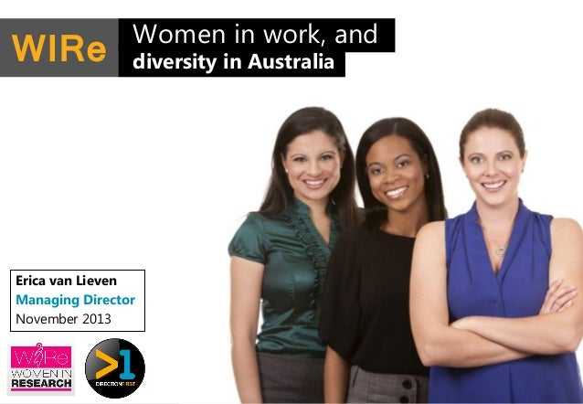 WIRe  Women in work, and diversity in Australia  Erica van Lieven Managing Director November 2013  1