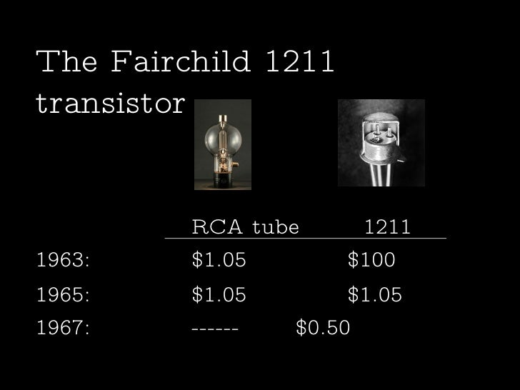 1963:  $1.05 $100  The Fairchild 1211 transistor 1965: $1.05 $1.05  1967: ------ $0.50  RCA tube    1211